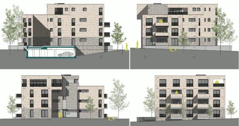vier Außenansichten eines Mehrfamilienhauses